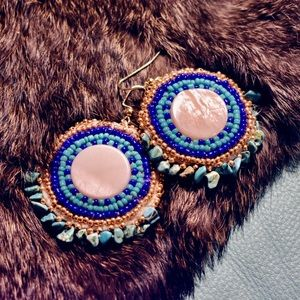 Native abalone rounds earrings
